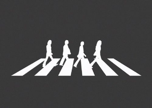 THE BEATLES - ABBEY ROAD - Grey canvas print - self adhesive poster - photo print